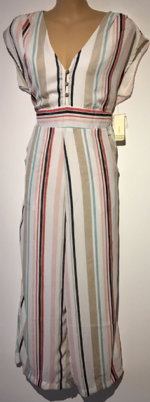JAPNA WHITE STRIPED BUTTON JUMPSUIT BNWT SIZE M 12